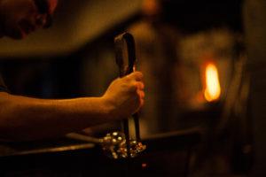 Hand blown glass art goblet making