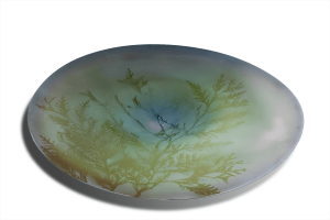 "Green tree glass platter, ""Nature Mort"""